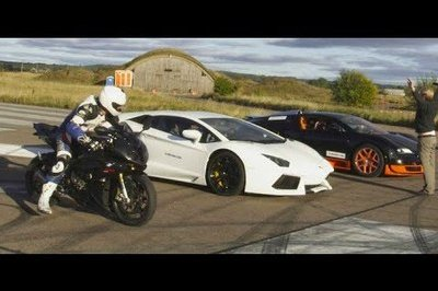 Video: Bugatti Veyron Grand Sport Vitesse Vs Lamborghini Aventador Vs BMW S1000RR