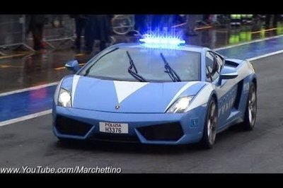 Lamborghini Gallardo LP 560-4 Polizia Stradale runs around Monza