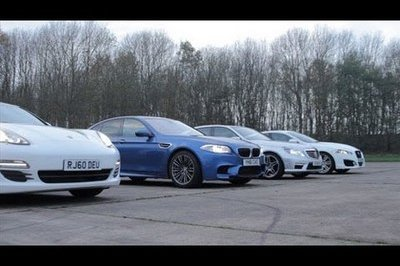 Video: BMW M5 vs Porsche Panamera S vs Mercedes E63 AMG vs Jaguar XFR