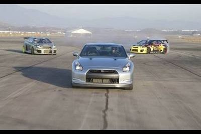 Video: Nissan GT-R takes on a pair of Scion TC drift cars