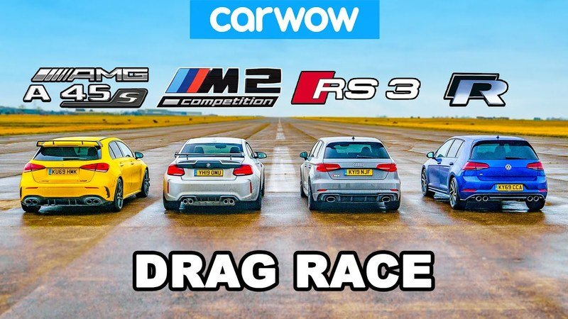 Mercedes-AMG A 45, Audi RS 3, and VW Golf R drag race debuts with drifting