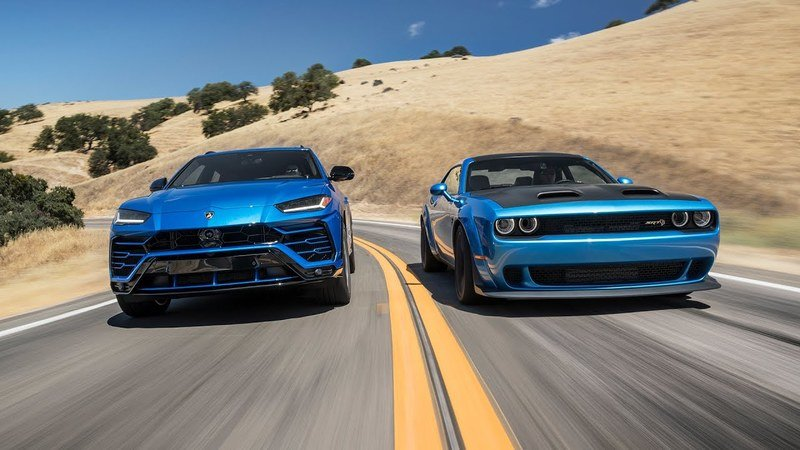 Wacky Races: Dodge Challenger Hellcat Battles Lambo Urus on the Track