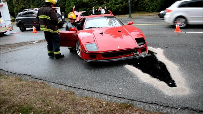 Video: The Carnage that Followed an Accident Involving a 1-in-1,315 Ferrari F40