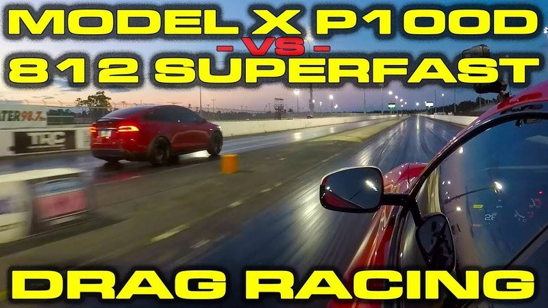 Drag Race Battle - Ferrari 812 Superfast Versus Tesla Model X P100D
