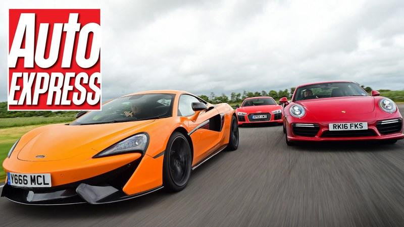 Auto Express Lines Up The McLaren 570S Against The Audi R8 V10 Plus And The Porsche 911 Turbo S: Video