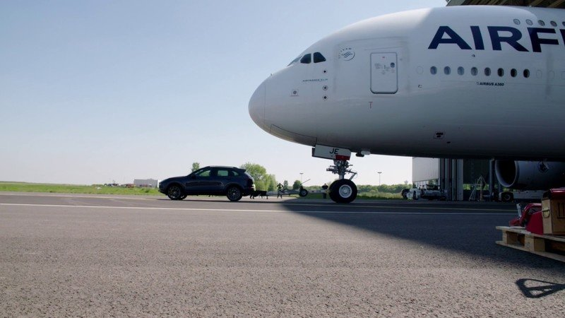 Porsche Tows 314-Ton Airbus A380 with Cayenne Turbo S and Diesel Models