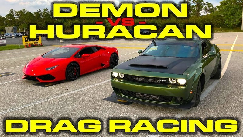 Video of the Day: Dodge Challenger Demon vs Lamborghini Huracan