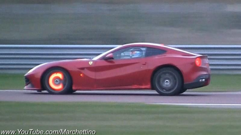Ferrari F12berlinetta's Brake Discs Glow Bright Orange: Video