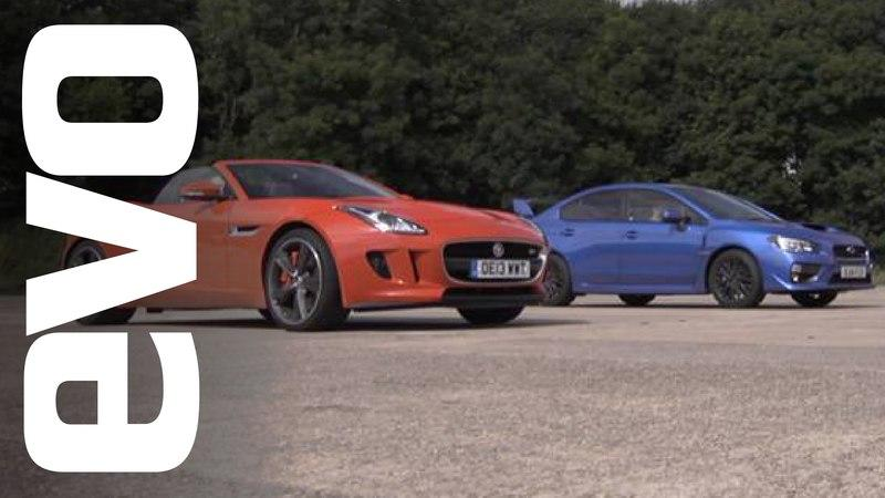 Video: Jaguar F-Type V6 S vs Subaru WRX STI