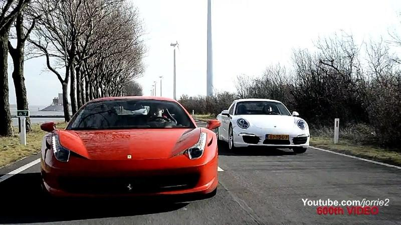 Video: Porsche 991 Carrera S Vs Ferrari 458 Italia