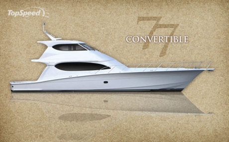 Like all Hatteras yachts, the 77 Convertible is built on a solid-fiberglass ...