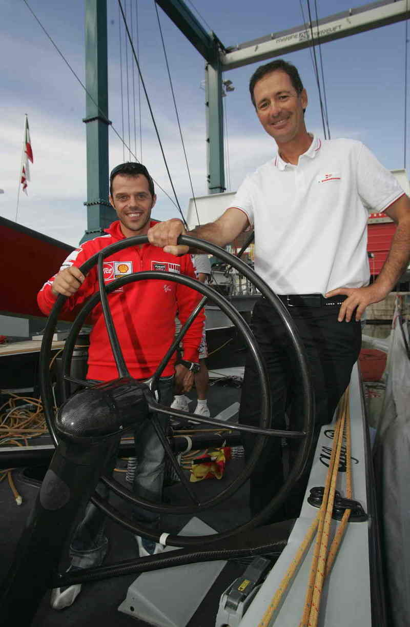 Loris Capirossi visits the Luna Rossa Challenge America's Cup base
