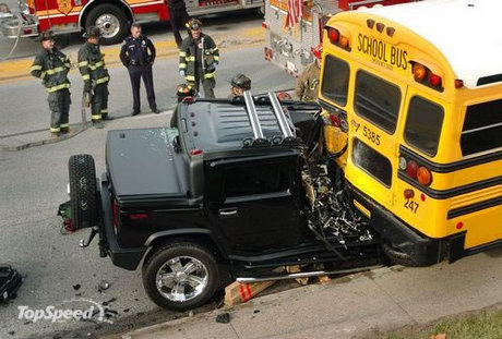 Filed under: Hummer | car crash · hummer vs school bus