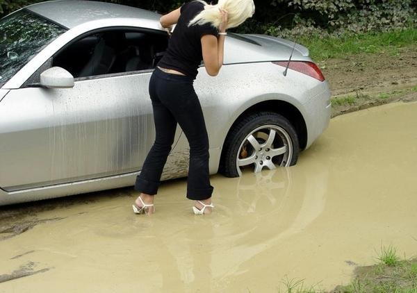 Nissan 350z Stuck In The Mud By A Blonde Picture 120045