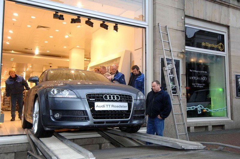 Can't fit the TT in the showroom? Remove the glass!