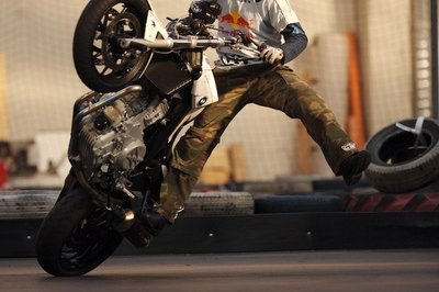The stunt king of 2006 at the MCN London Motorcycle Show