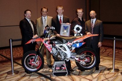 Factory Aprilia Rip It Racing Team and Benny Carlson accept awards
