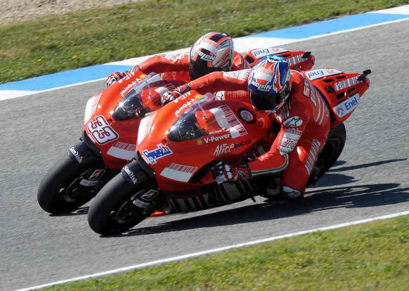 Tough but determined race for Stoner and Melandri