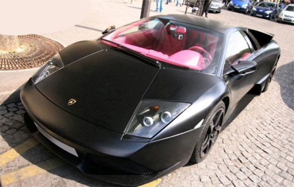 flat black lamborghini lp640 with pink interior pictures car news top speed. Black Bedroom Furniture Sets. Home Design Ideas