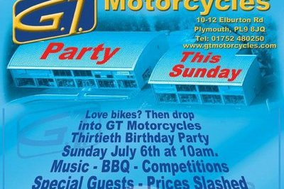 Hope on your bikes and go to the GT Motorcycles 30th Anniversary party this Sunday!