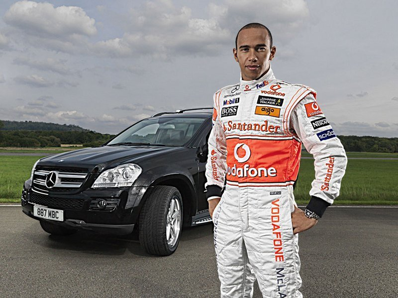 Lewis Hamilton and his Mercedes GL