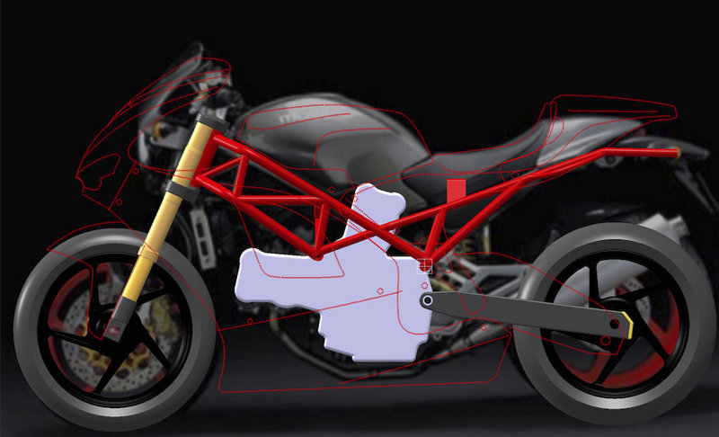 Ducati Monster developing into Desmosedici RR