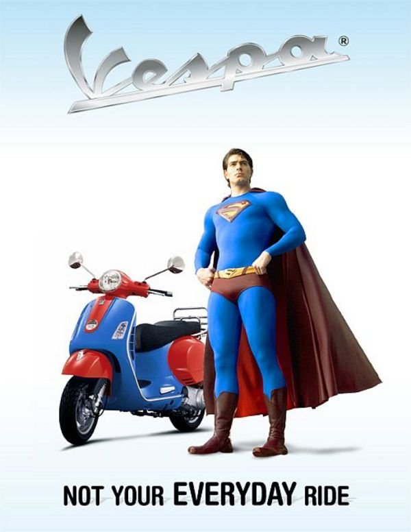 superman and his personalized vespa picture