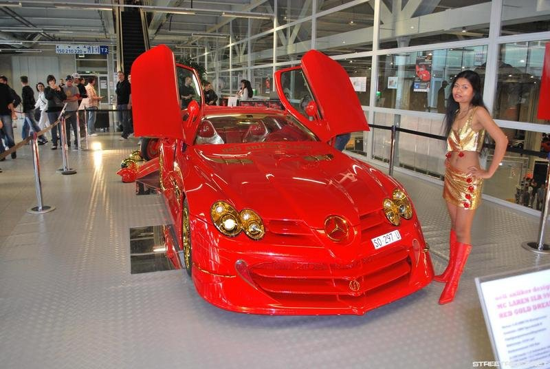Red and gold Mercedes SLR - money can't buy taste