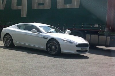 Aston Martin Rapide caught in white