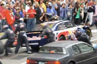 Red Bull Racing conducts NASCAR pit stop in Times Square