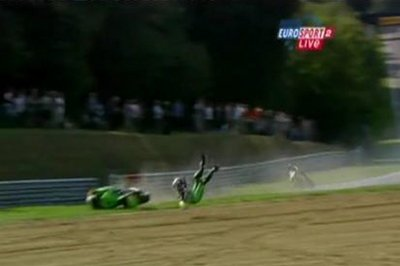 Chris Martin's incredible crash from Brands Hatch