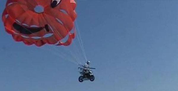 Motorcycle + Parachute + Speed Boat = Lots Of Fun News ...