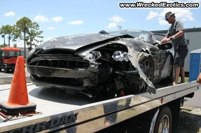 Gumball 3000 + track day= wrecked Aston Martin DB9