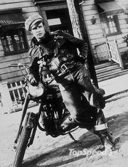 17. Marlon Brando and his Triumph Thunderbird in 'The Wild One'