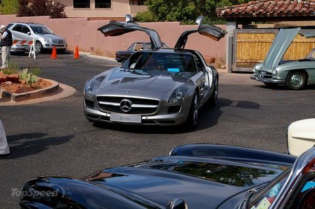 mercedes sls amg drops by a gathering of classic 300 sls in california