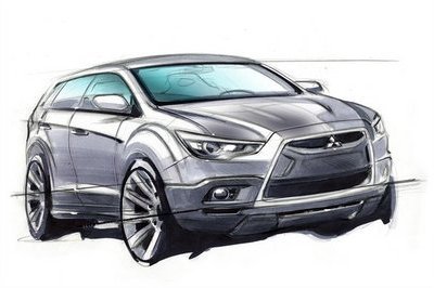 Mitsubishi releases design sketch of new crossover vehicle
