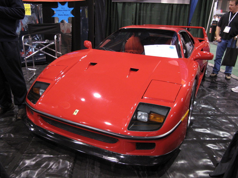 A rare glimpse of a Ferrari F40's engine bay at the 2009 SEMA Show