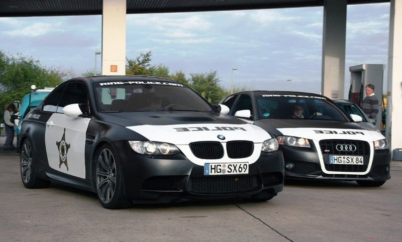Police-wrapped BMW M3 and Audi S3 spotted at the Nurburgring