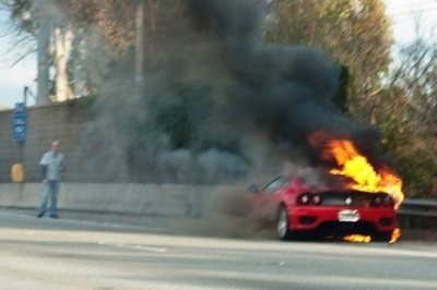 Ferrari 360 Modena Burns Along California Highway