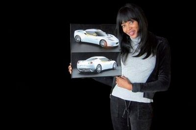Supermodel Naomi Campbell ties up with Lotus for special edition 2010 Lotus Evoras to help the people of Haiti