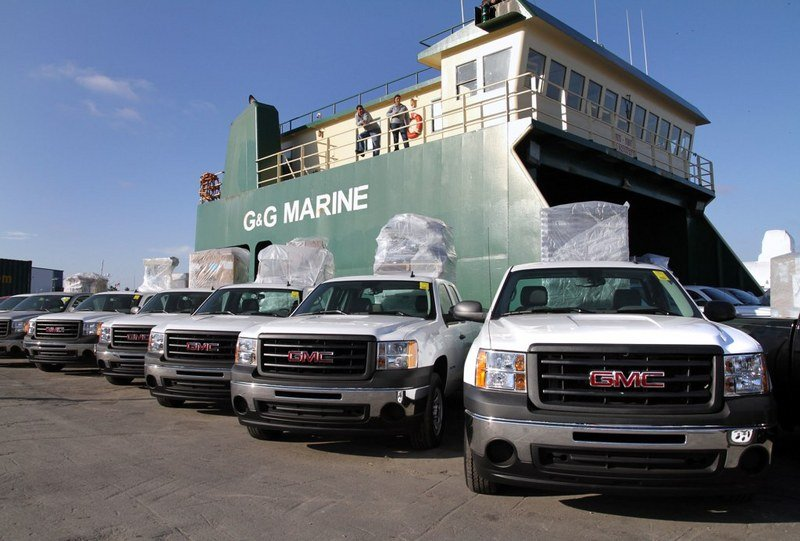 The GM Foundation sends relief to Haiti in the form of 30 Sierra pick up trucks