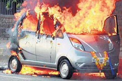 Another Tata Nano goes up in flames