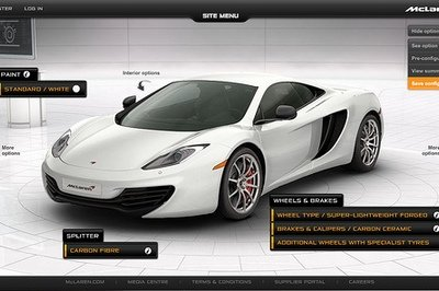 Customize your McLaren MP4-12C using their new online configurator
