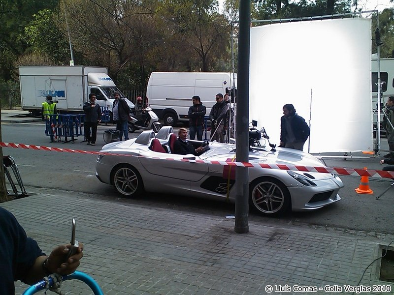 Mika Hakkinen sits behind the wheel of McLaren SLR Stirling Moss during Mercedes commercial shoot