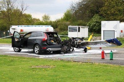Small plane crashes into Volvo XC60