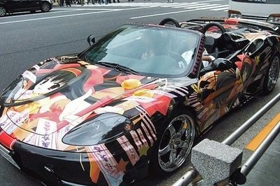 Ferrari 360 gets completely wrapped in anime and manga drawings