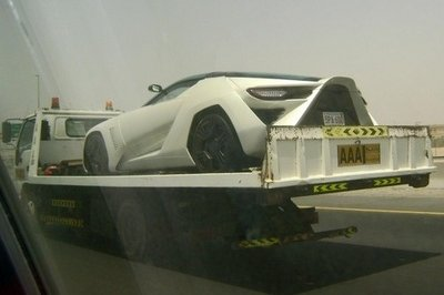 Stile Bertone Mantide spotted on the back of tow truck in Dubai