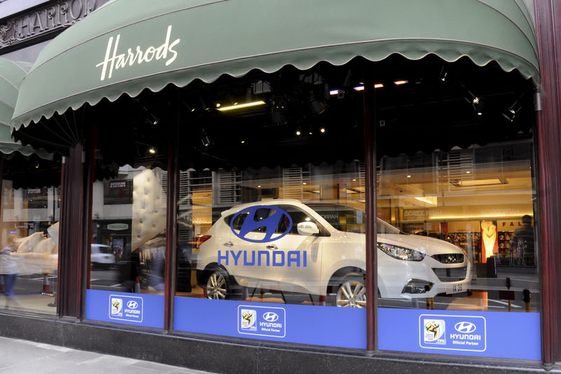 Hyundai's going big time with window display of the new iX35 crossover at Harrods