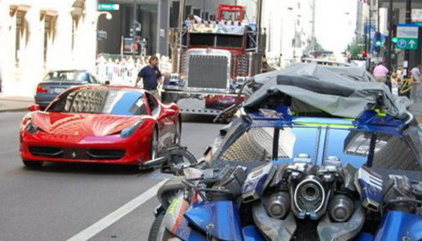 ferrari 458 italia caught on transformers 3 stage picture
