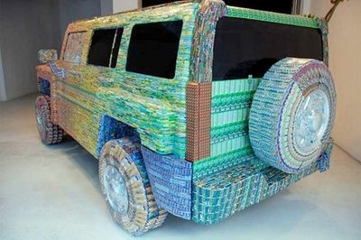 A Hummer H3 made out of Lotto tickets?